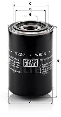 Öljynsuodatin MANN-FILTER W 929/3