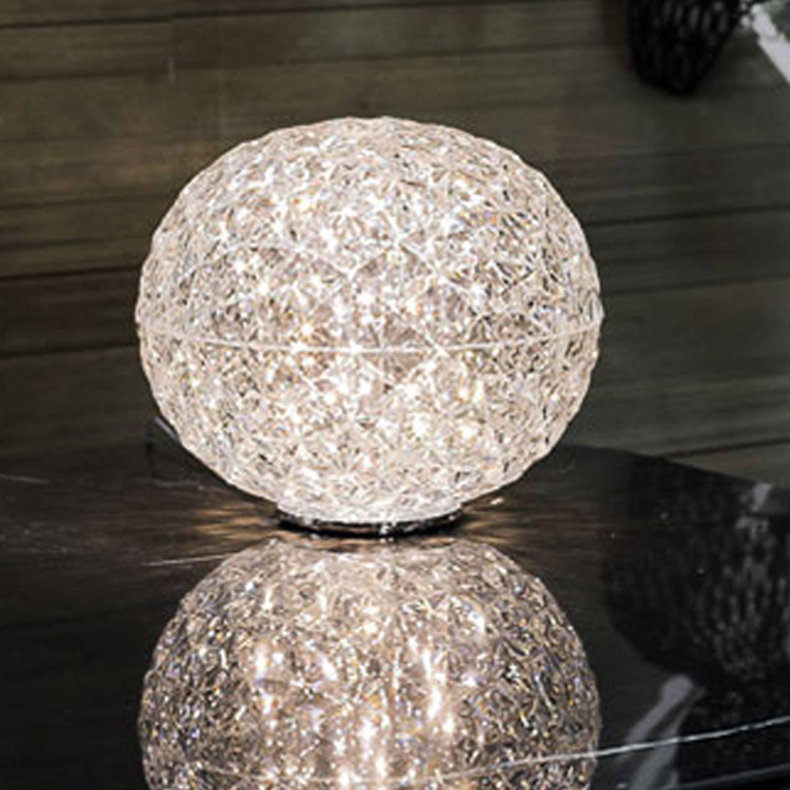 Kuleformet LED bordlampe Planet, transparent