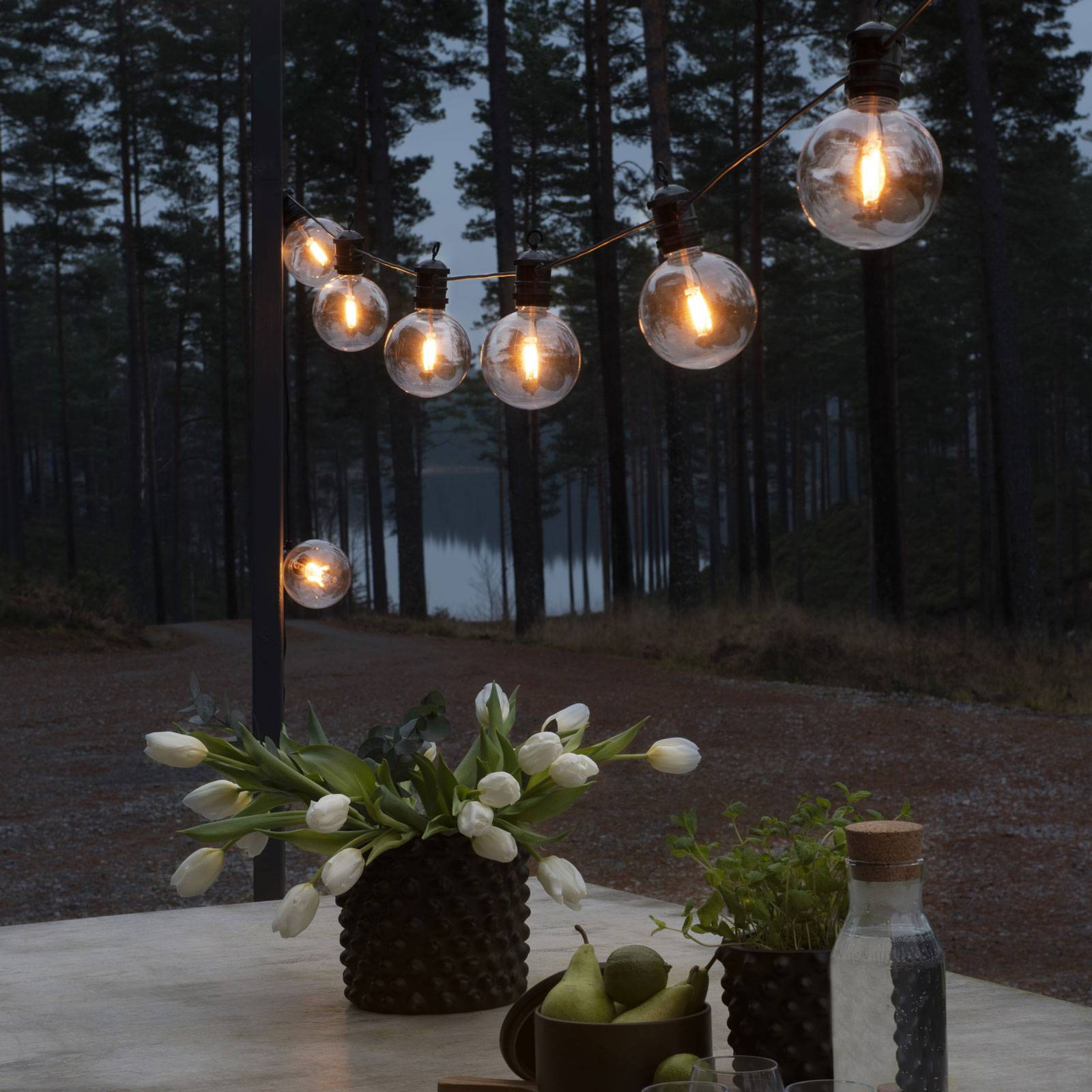 24 V ulkovalosarja Globe perussarja, 10-lamppuinen