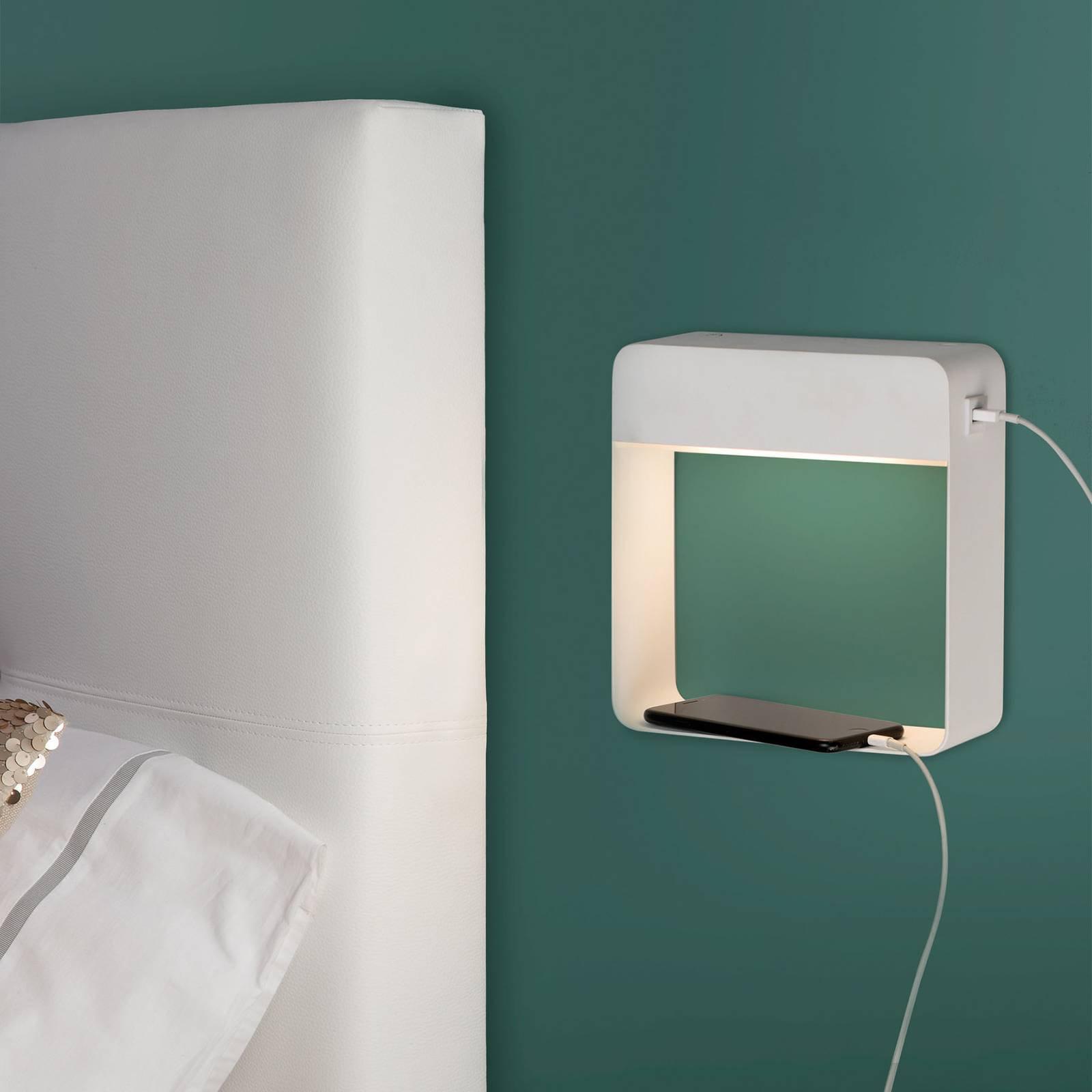 LED-vegglampe Denver med USB-lader og bryter