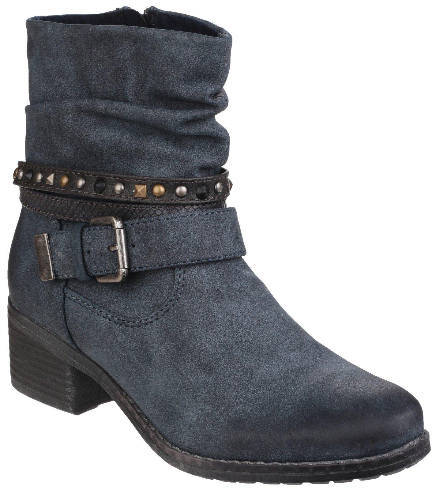 Divaz Women's West Zip up Ankle Boot Black 24273-40025 - Navy 3