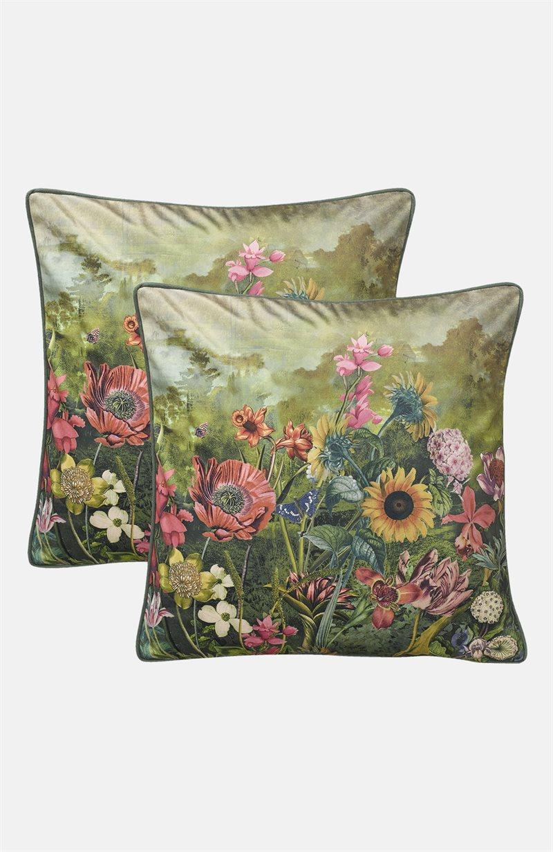 Monet kukkakuvioinen tyynynpäällinen samettia Monet 2 kpl/pakkaus
