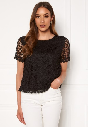 ONLY Trissy Lace SS Top Black 34