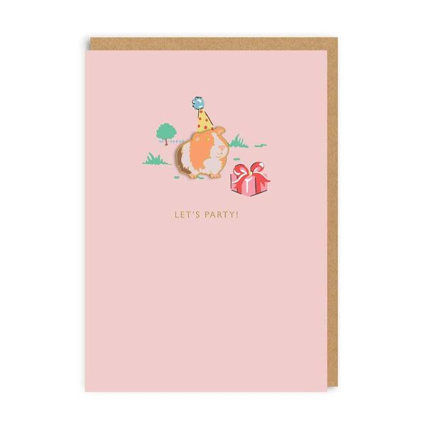 Let's Party! Guinea Pig Enamel Pin Greeting Card