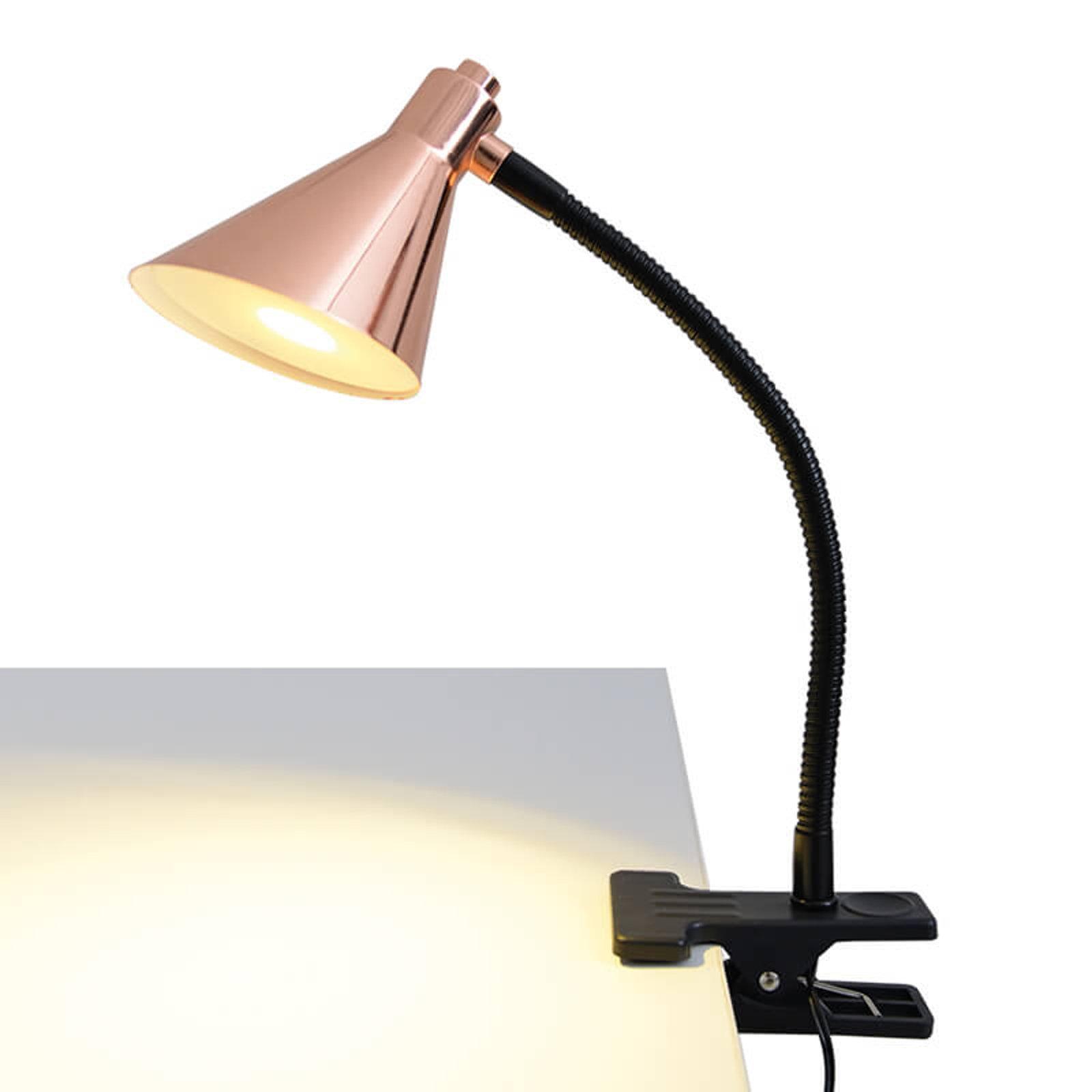 Kobberfarget LED-klemlampe Janita