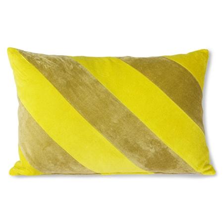 Striped Velvet Cushion yellow/Green 40x60 cm
