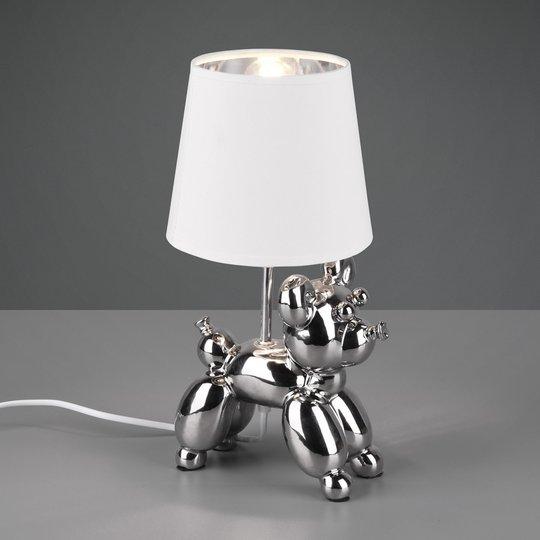 Bordlampe Bello med hundefigur, sølv/hvit
