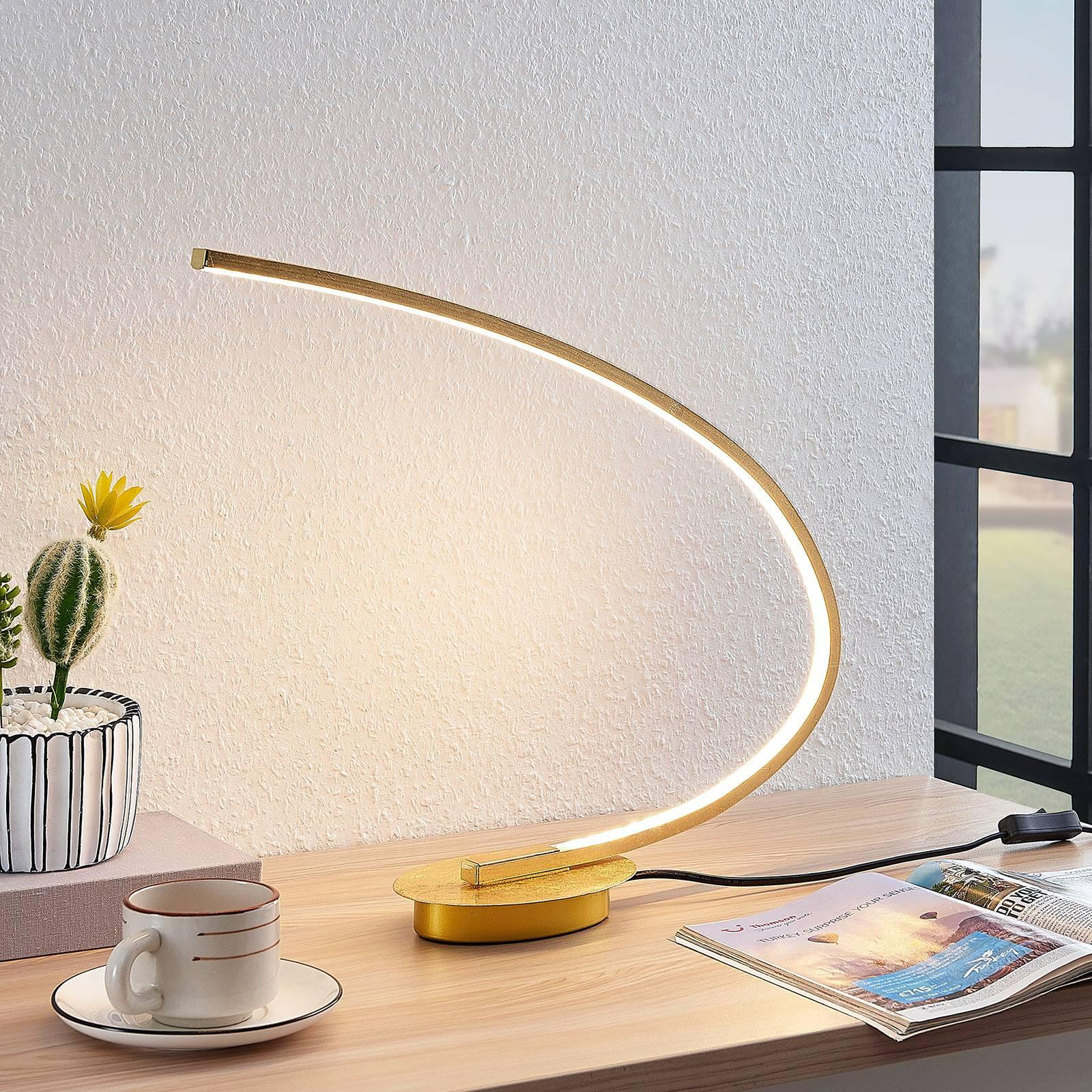 LED-pöytälamppu Nalevi, kaaren muoto, kulta
