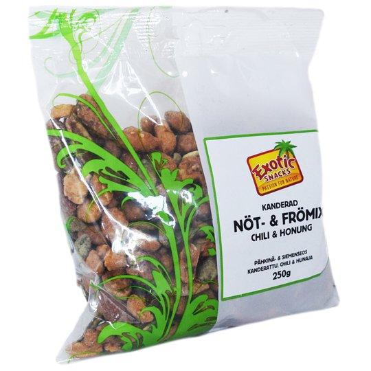 Pähkinä- ja hedelmäsekoitus Chili & Hunaja 250 g - 60% alennus