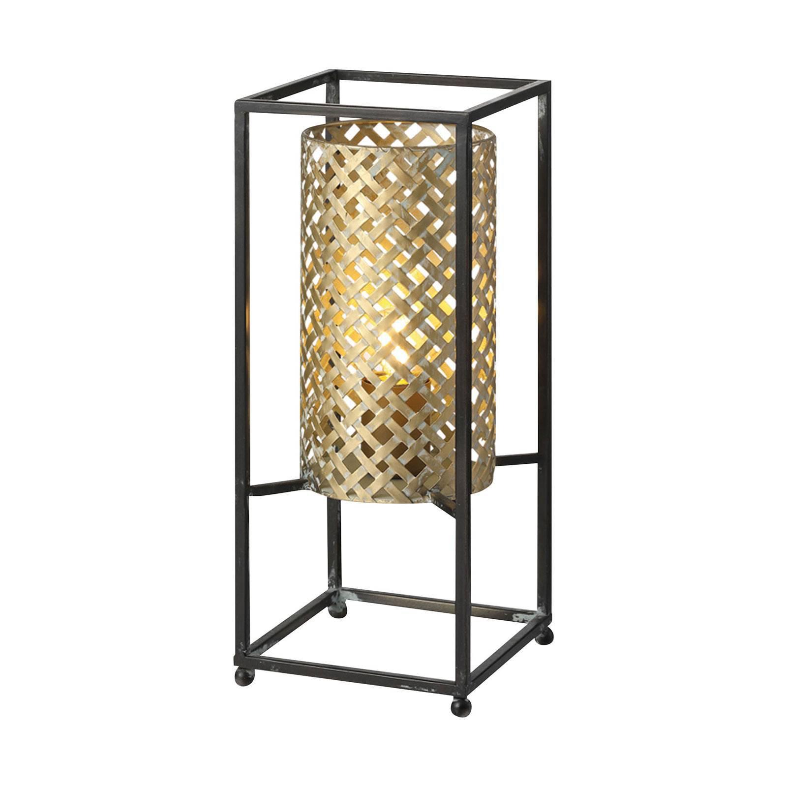 Bordlampe Petrolio, svart/gull, høyde 37 cm