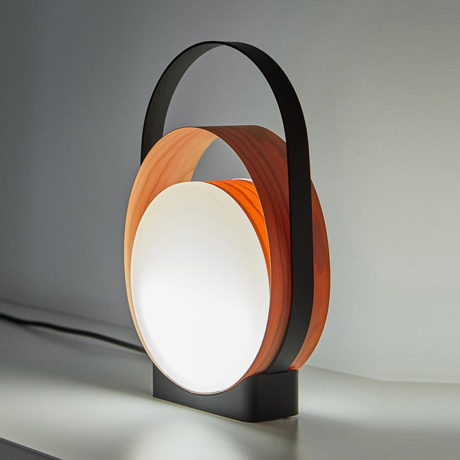 LZF Loop -LED-pöytälamppu musta/kirsikkapuu