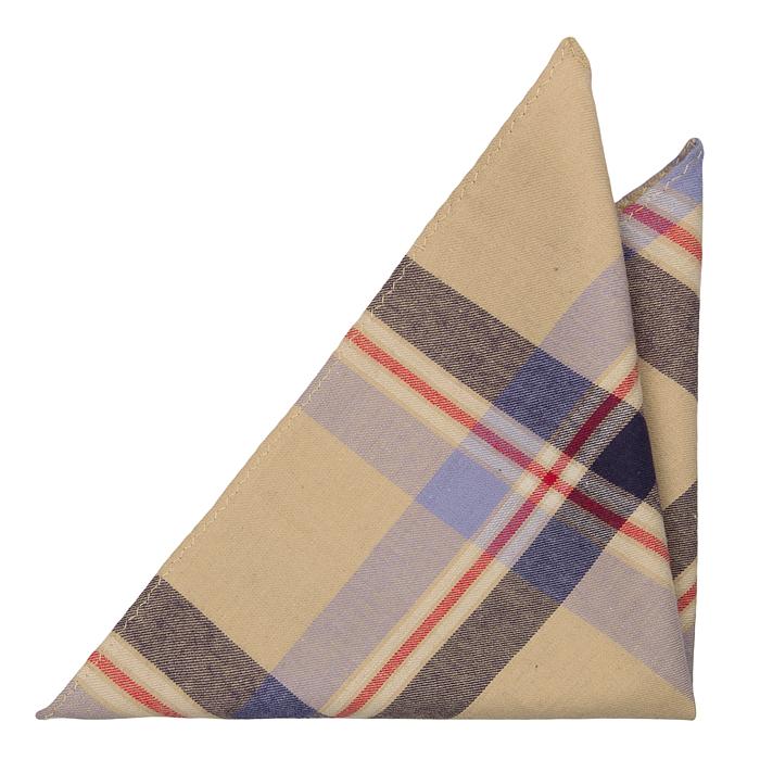 Bomull Lommetørkler, Pledd med blå og beige base og røde linjer, Beige, Pledd