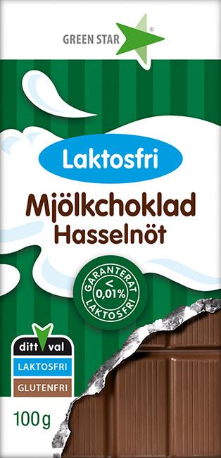 Green Star Mjölkchoklad Laktosfri Hasselnöt 100g