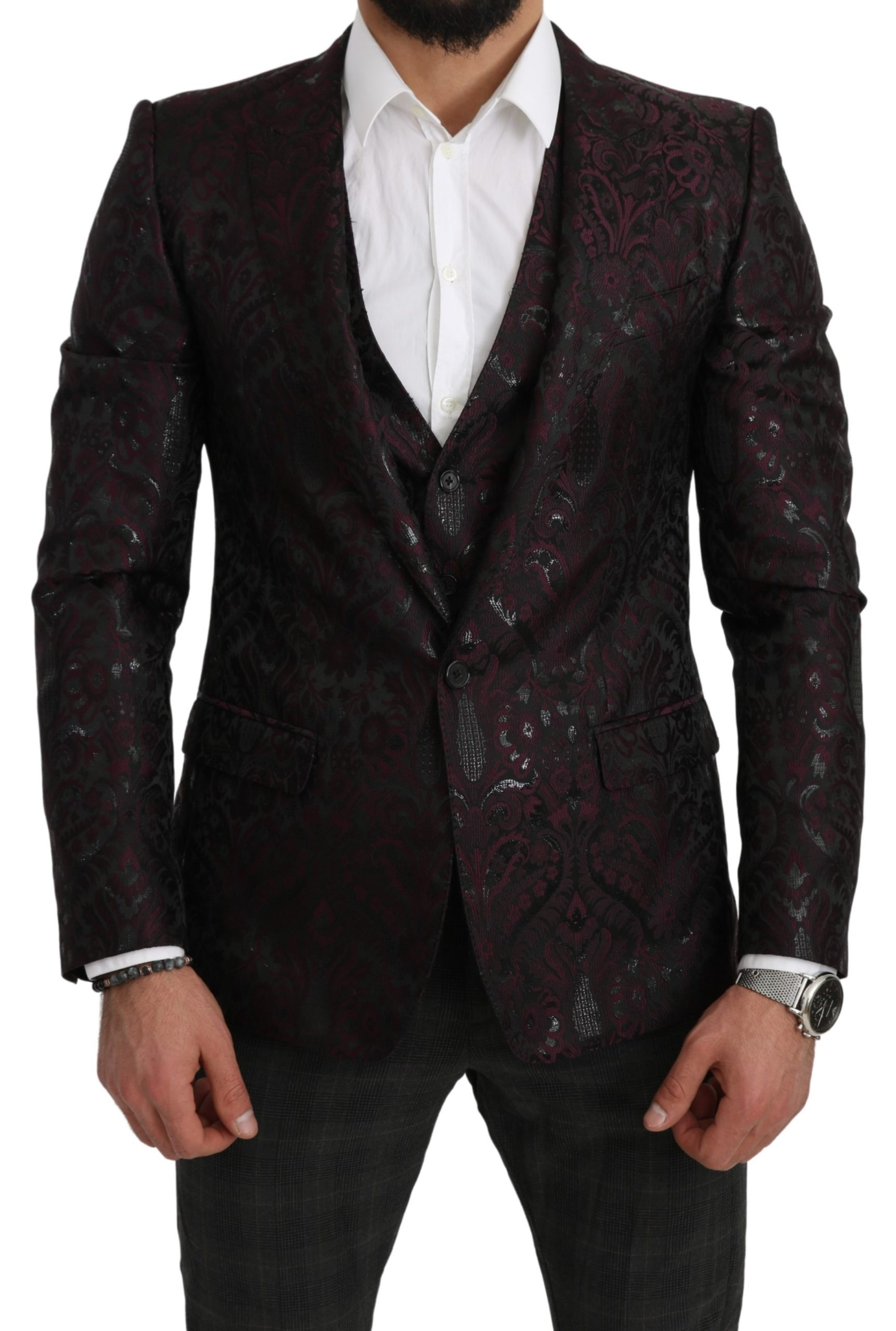 Dolce & Gabbana Men's Jacquard Floral Slim Fit Blazer Black KOS1806 - IT48   M