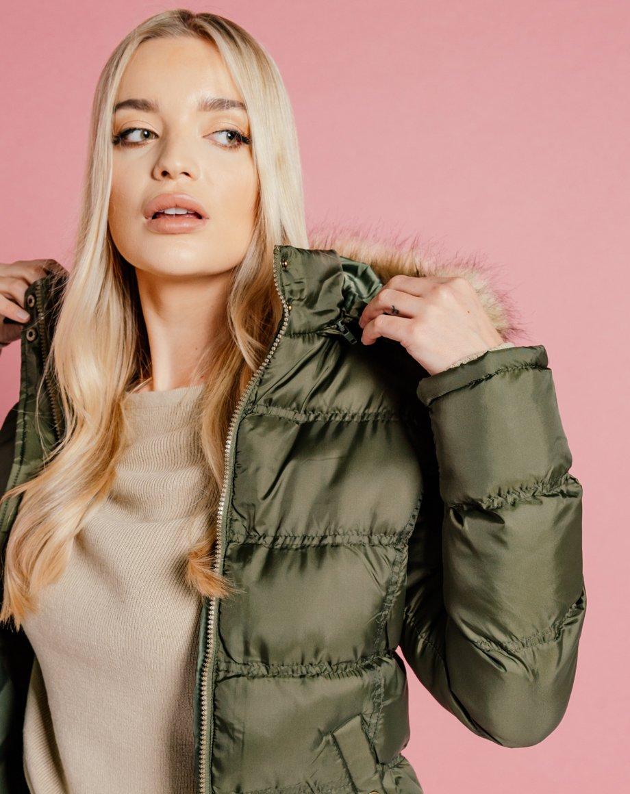Fur Hood Puffer Jacket - Khaki / 8