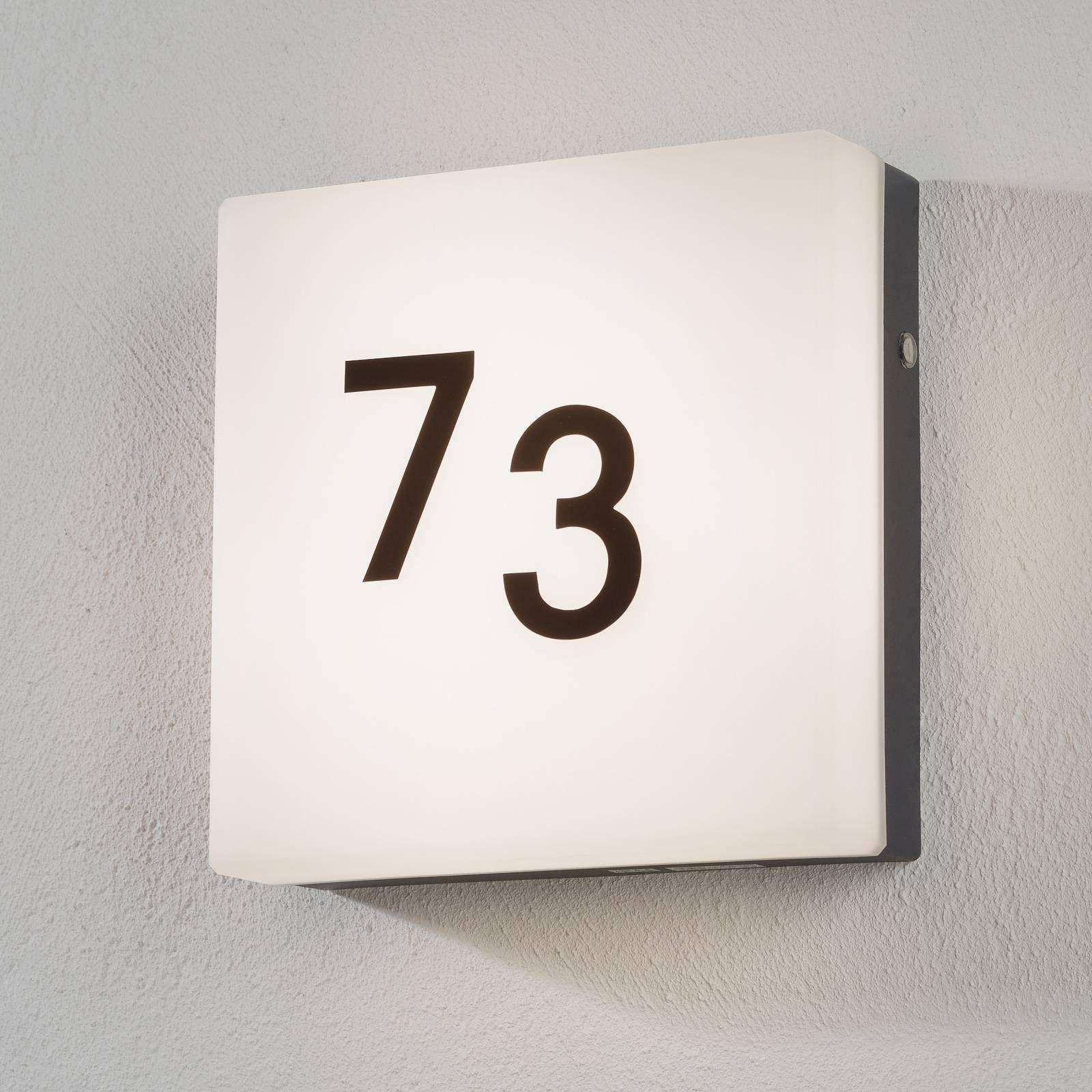 Tidløs LED-husnummerlampe Cornale med sensor