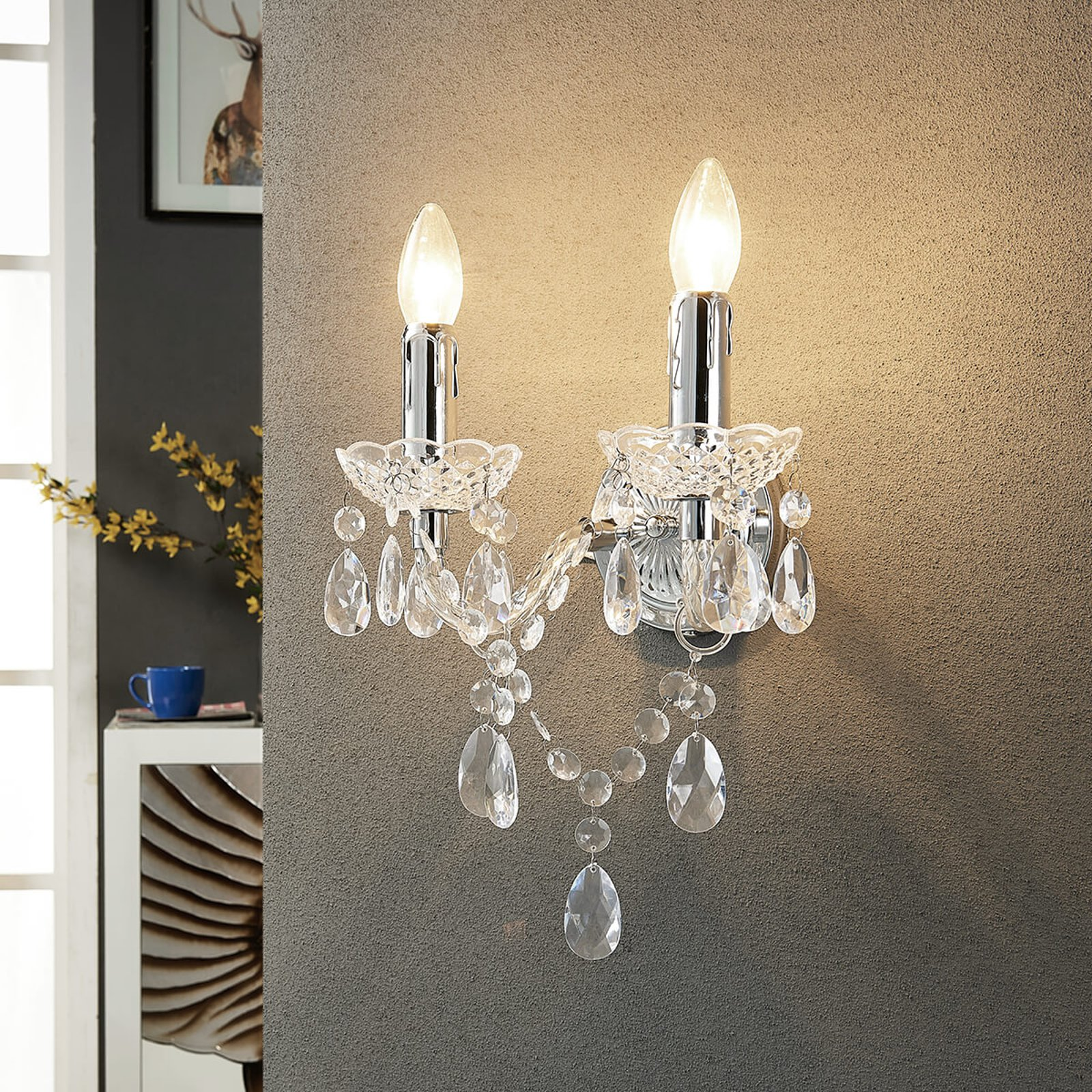 Merida - elegant vegglampe, 2 lys