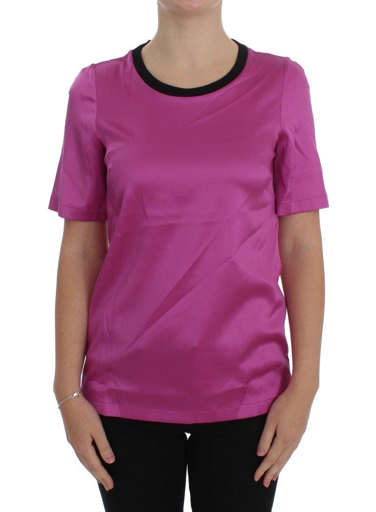 Dolce & Gabbana Women's Silk T-Shirts Pink SIG20504 - IT36 | XS