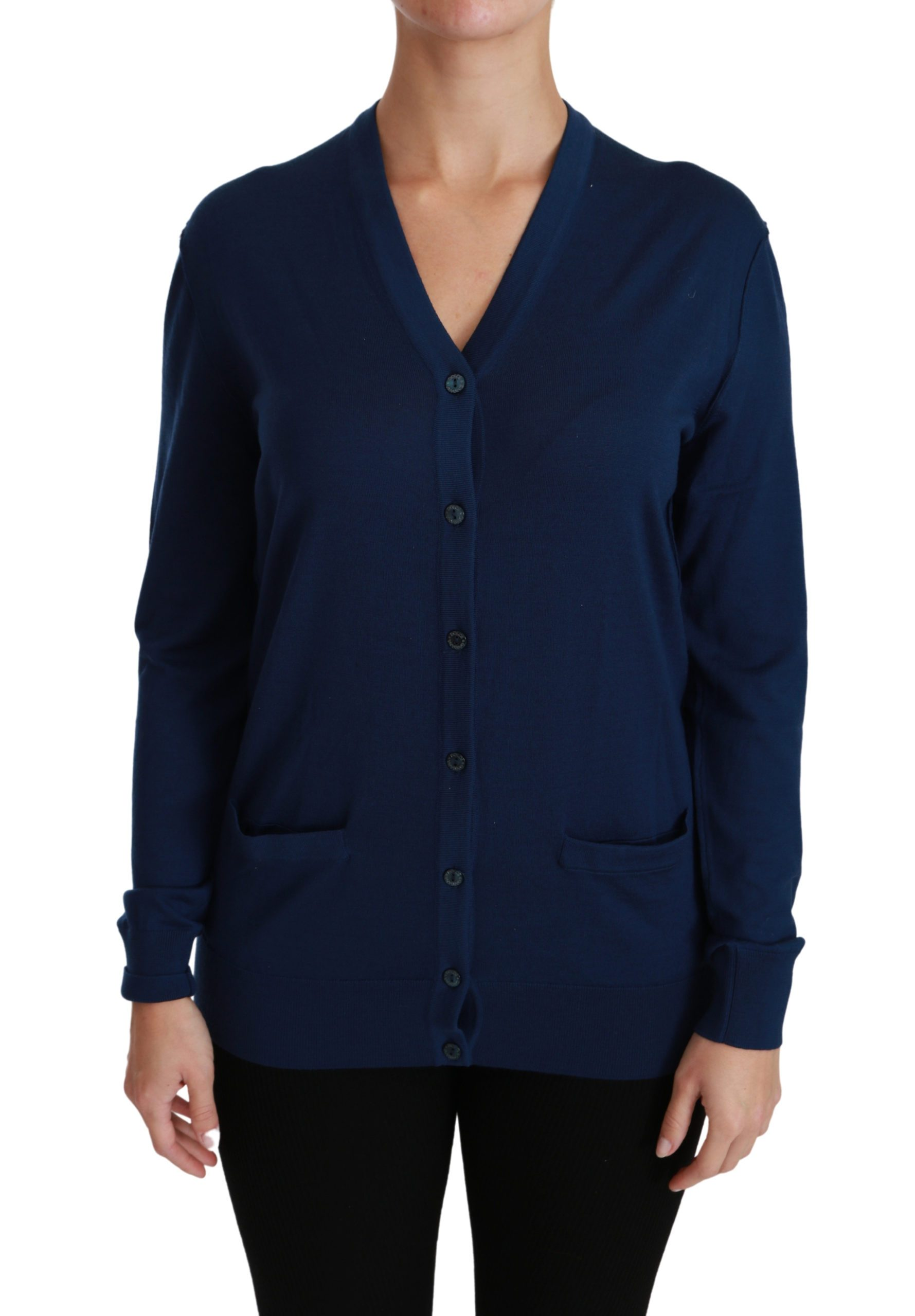 Dolce & Gabbana Women's Button Virgin Wool Cardigan Blue TSH4441 - IT36 | XS