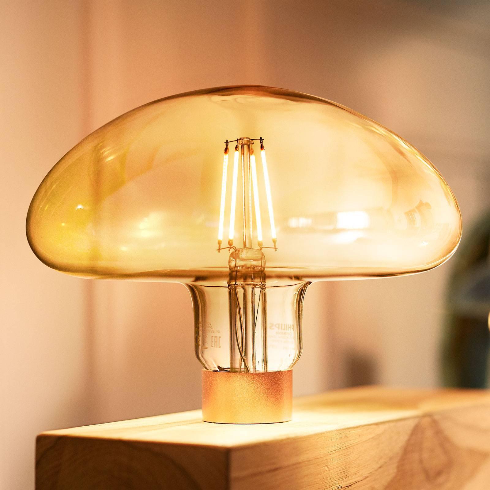 Philips Classic Mushroom gull LED-pære E27 5 W