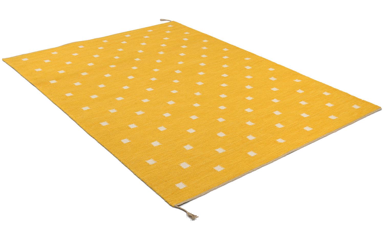 Rosendal gul - håndvevd ullteppe