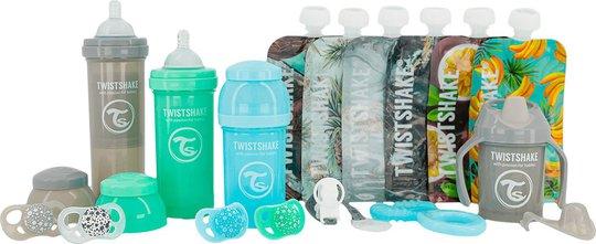 Twistshake Baby Bottle Kit, Blue/Green/Grey