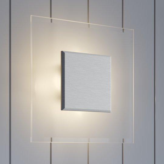 Neliönmuotoinen LED-seinävalaisin Lole, lasia