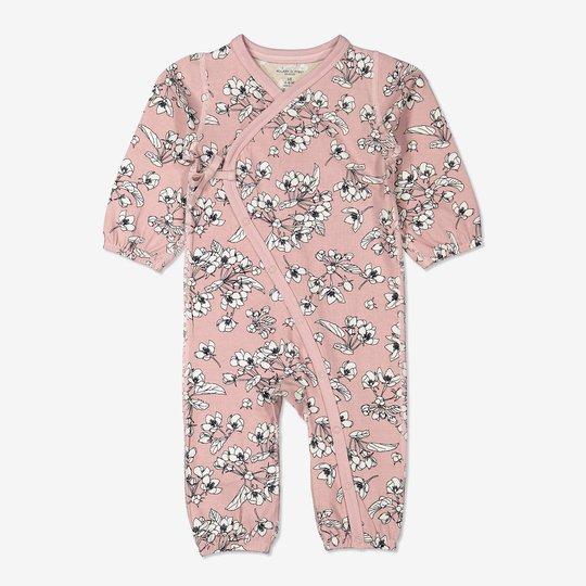 Omslagsdress med blomstertrykk baby rosa