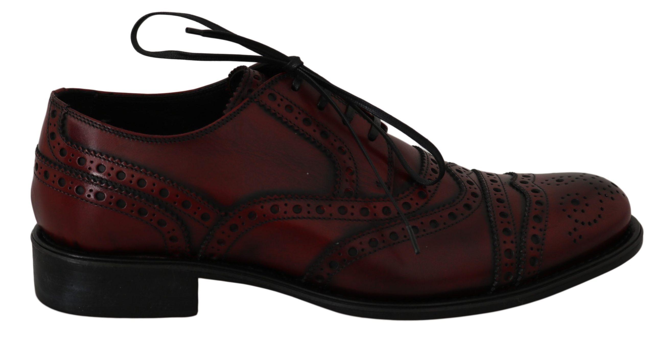Dolce & Gabbana Men's Leather Wingtip Oxford Shoes Bordeaux MV2360 - EU39.5/US6.5