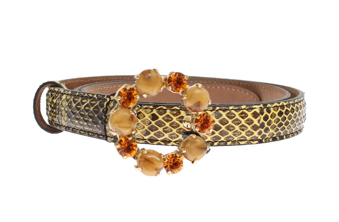 Dolce & Gabbana Women's Snakeskin Crystal Buckle Belt Gray MOM25207 - 65 cm / 26 Inches