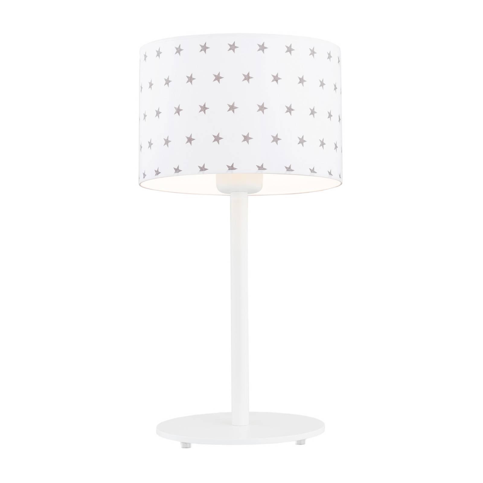 Pöytälamppu Moa, valkoinen/harmaa kangasvarjostin
