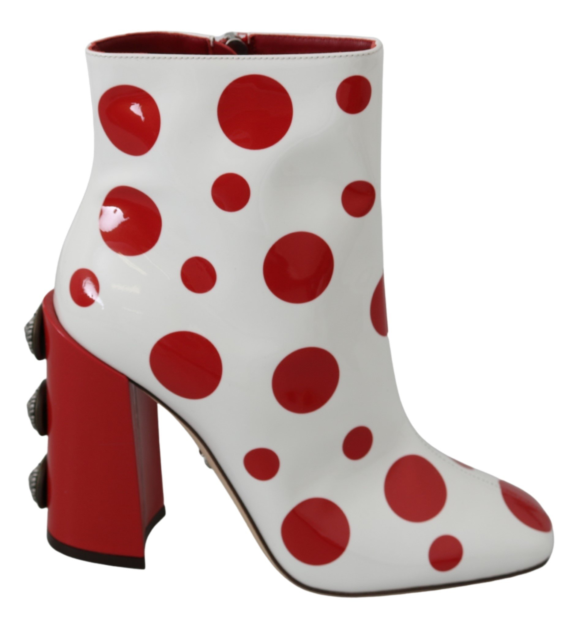 White Red Polka Dots Ankle High Boots Shoes - EU39/US8.5
