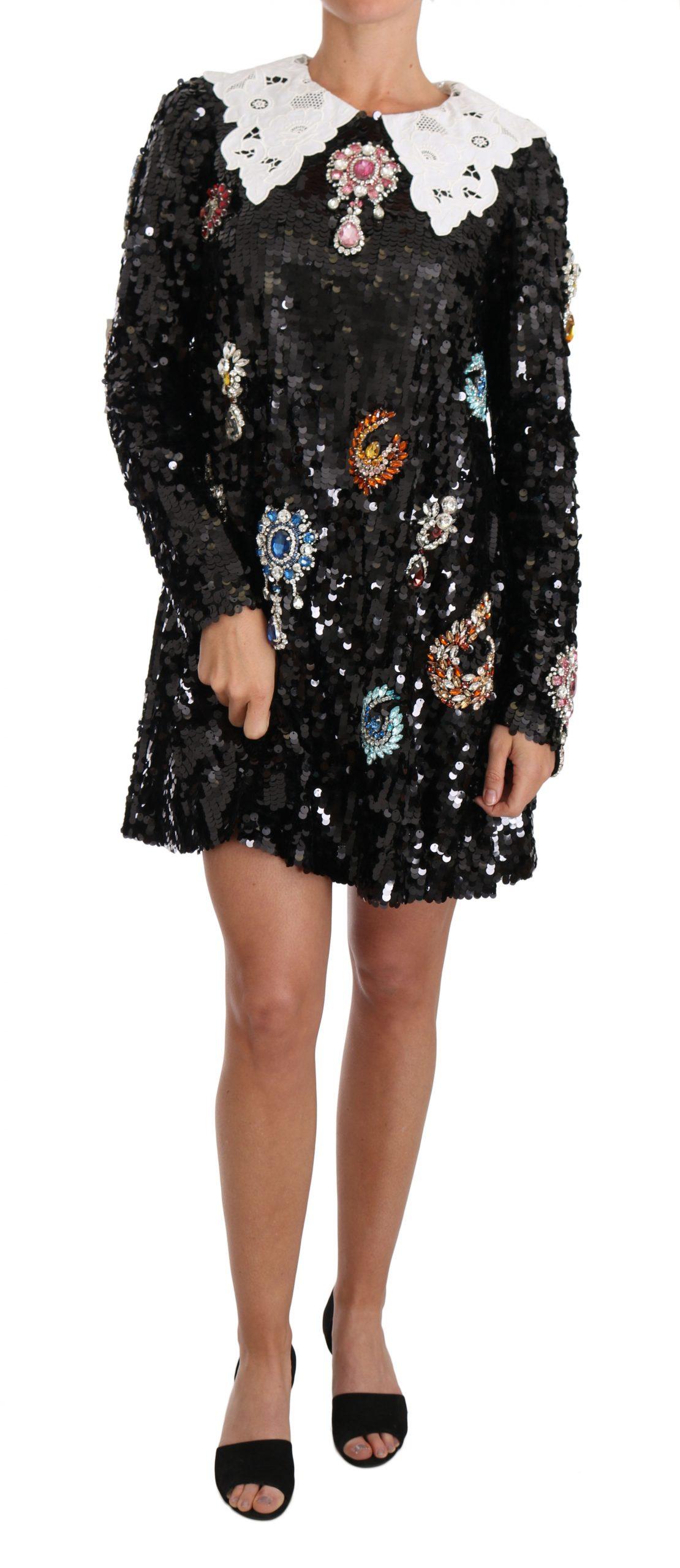 Dolce & Gabbana Women's Sequined Crystal Fairy Tale Dress Black DR1519 - IT40 S