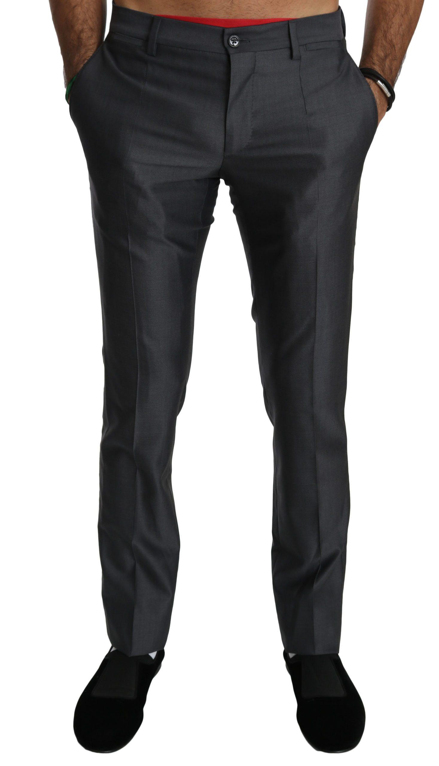 Dolce & Gabbana Men's Wool Dress Formal Trouser Gray PAN70773 - IT44 | XS