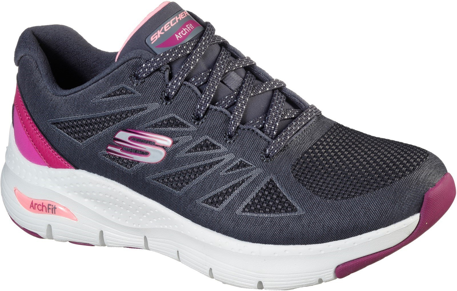 Skechers Women's Arch Fit She's Effortless Trainer Various Colours 32107 - Charcoal/Pink 3