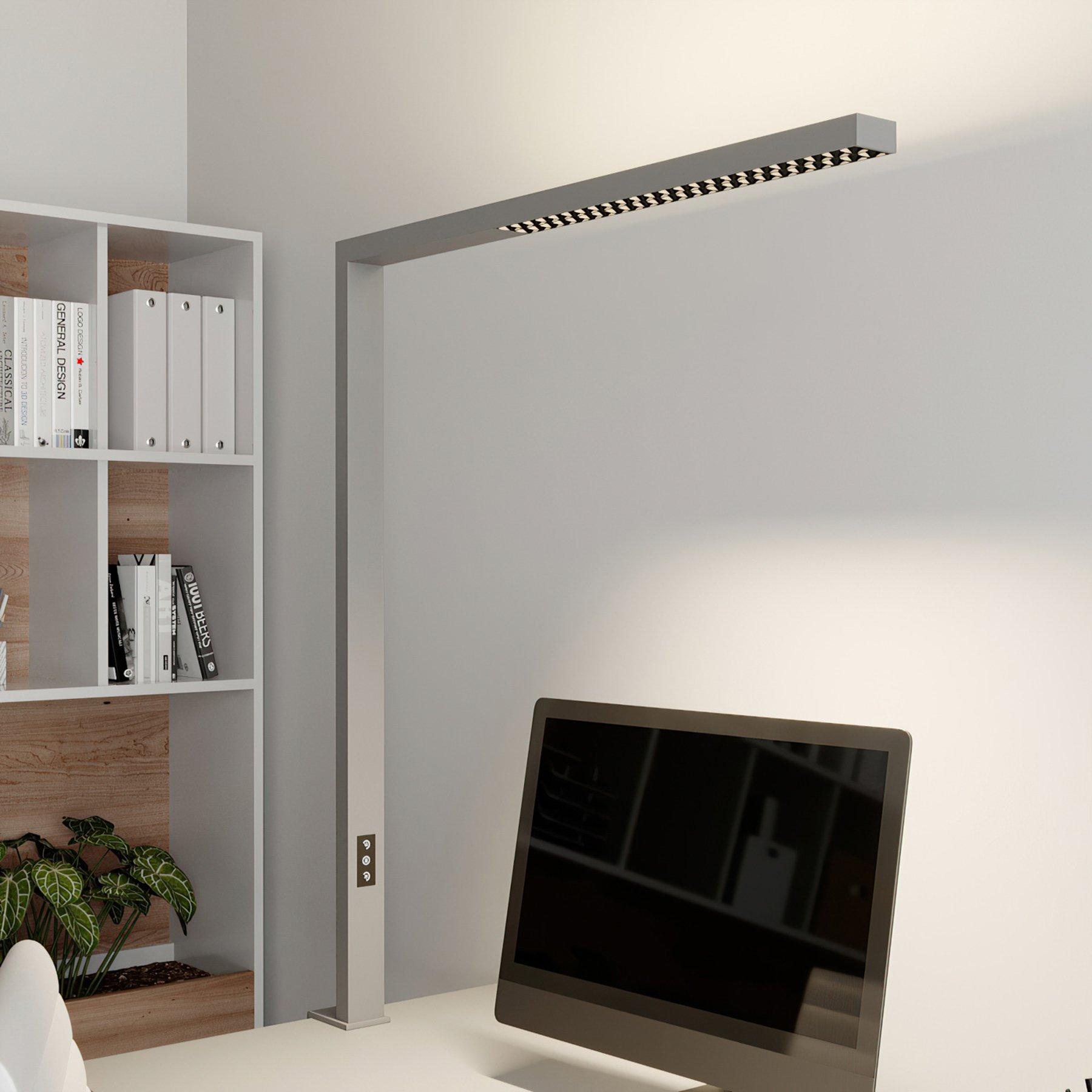 Arcchio Jolinda LED-office-klemmelampe, sølv