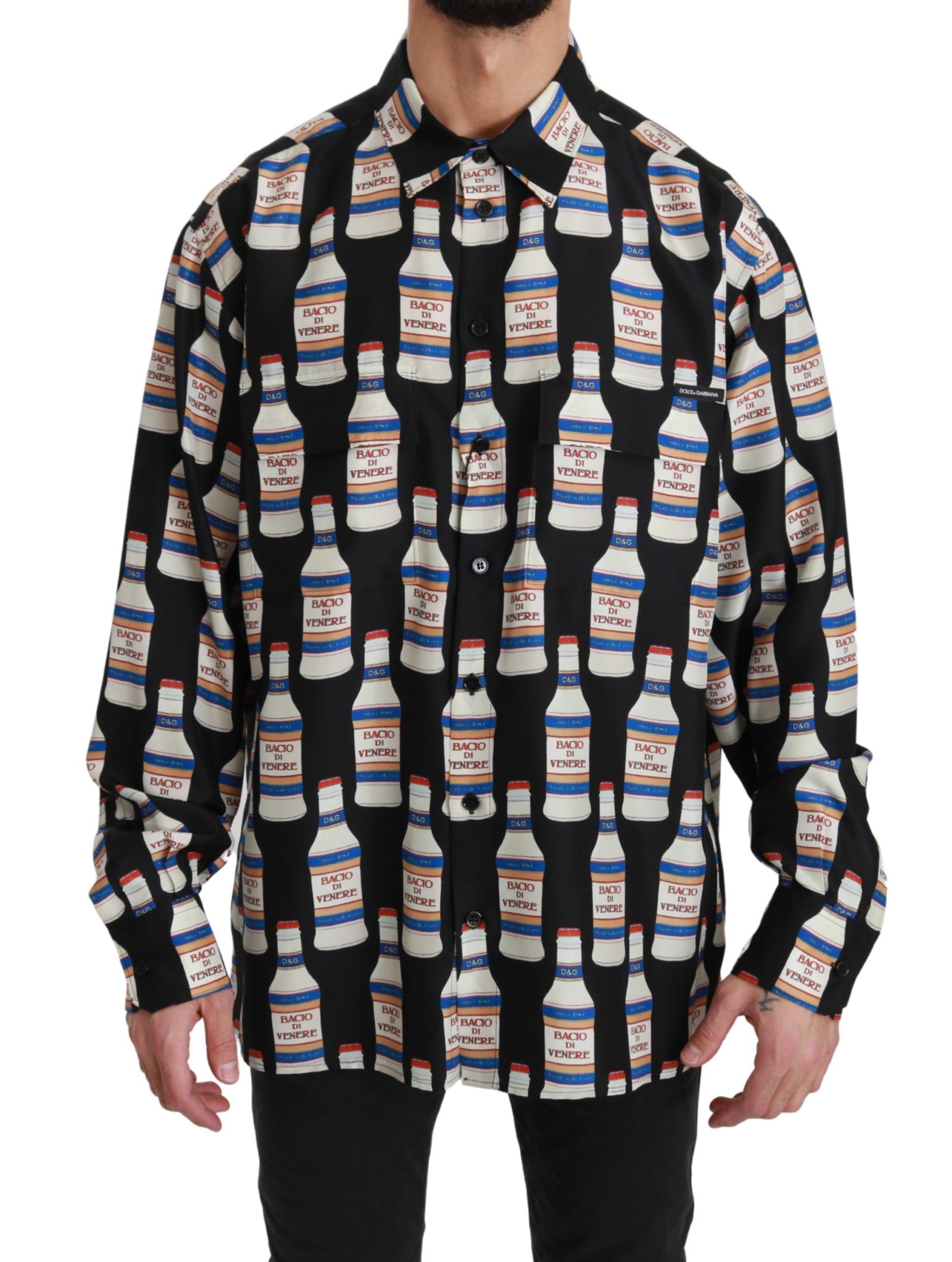 Dolce & Gabbana Men's Silk Casual Shirt Black TSH4485 - IT43 | XL