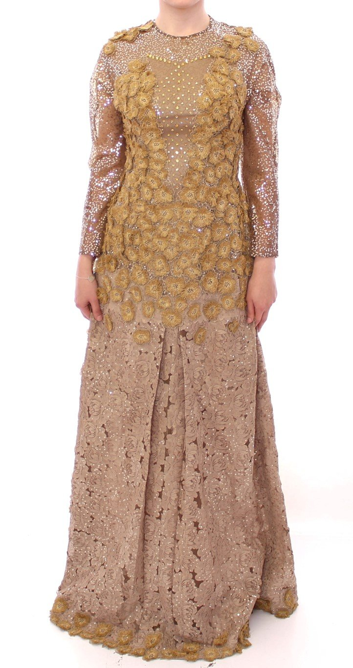 Lanre Da Silva Ajayi Women's Long Lace Maxi Crystal Dress Gold GSS10136 - M