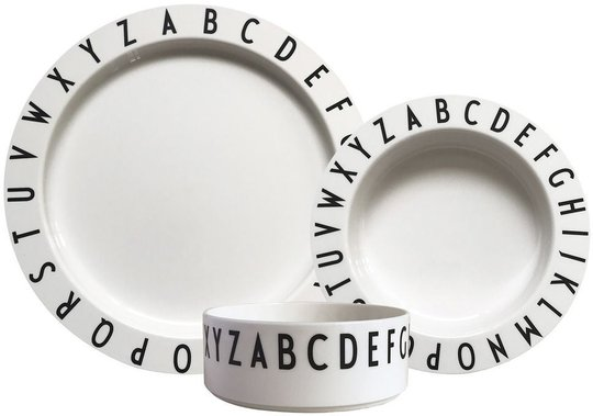 Design Letters Eat & Learn Barneservise Tritan, Hvit