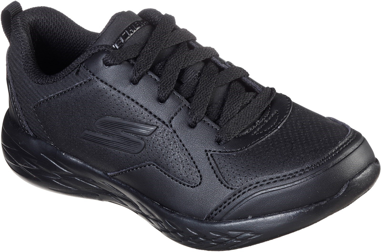 Skechers Kid's Go Run 600 Bexor School Trainer Black 32517 - Black/Black 12