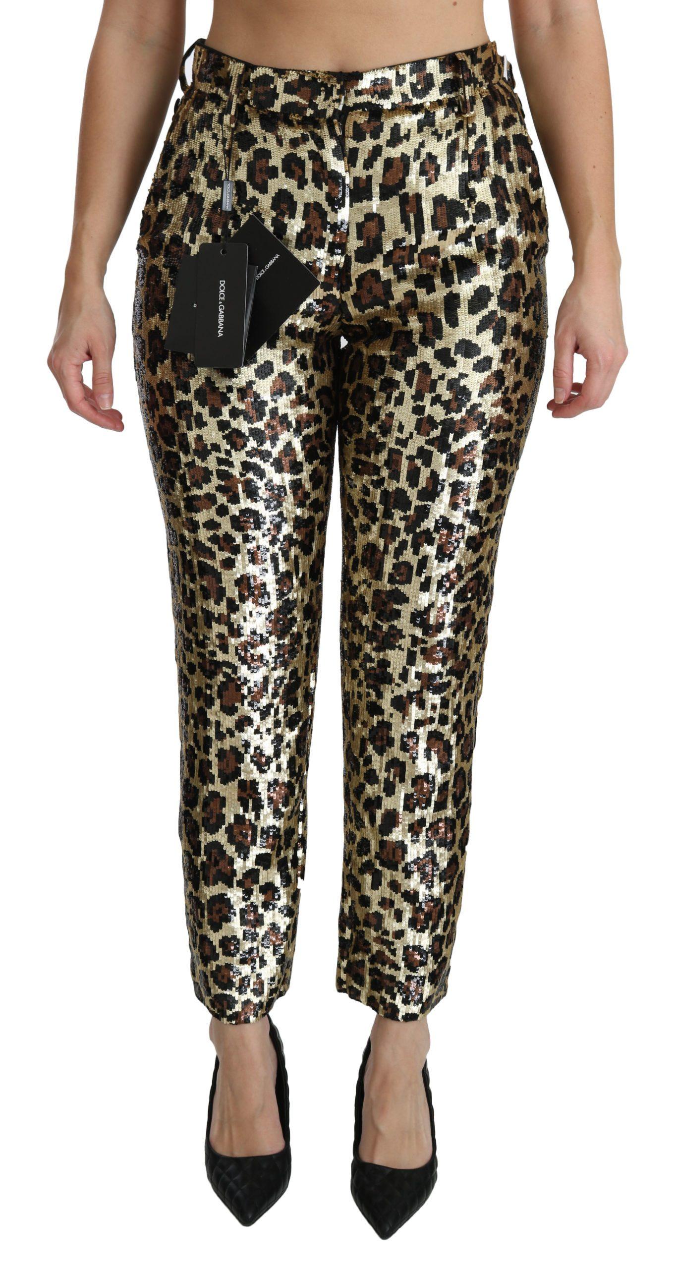 Dolce & Gabbana Women's Leopard Sequined High Waist Trouser Gold PAN70872 - IT38|XS