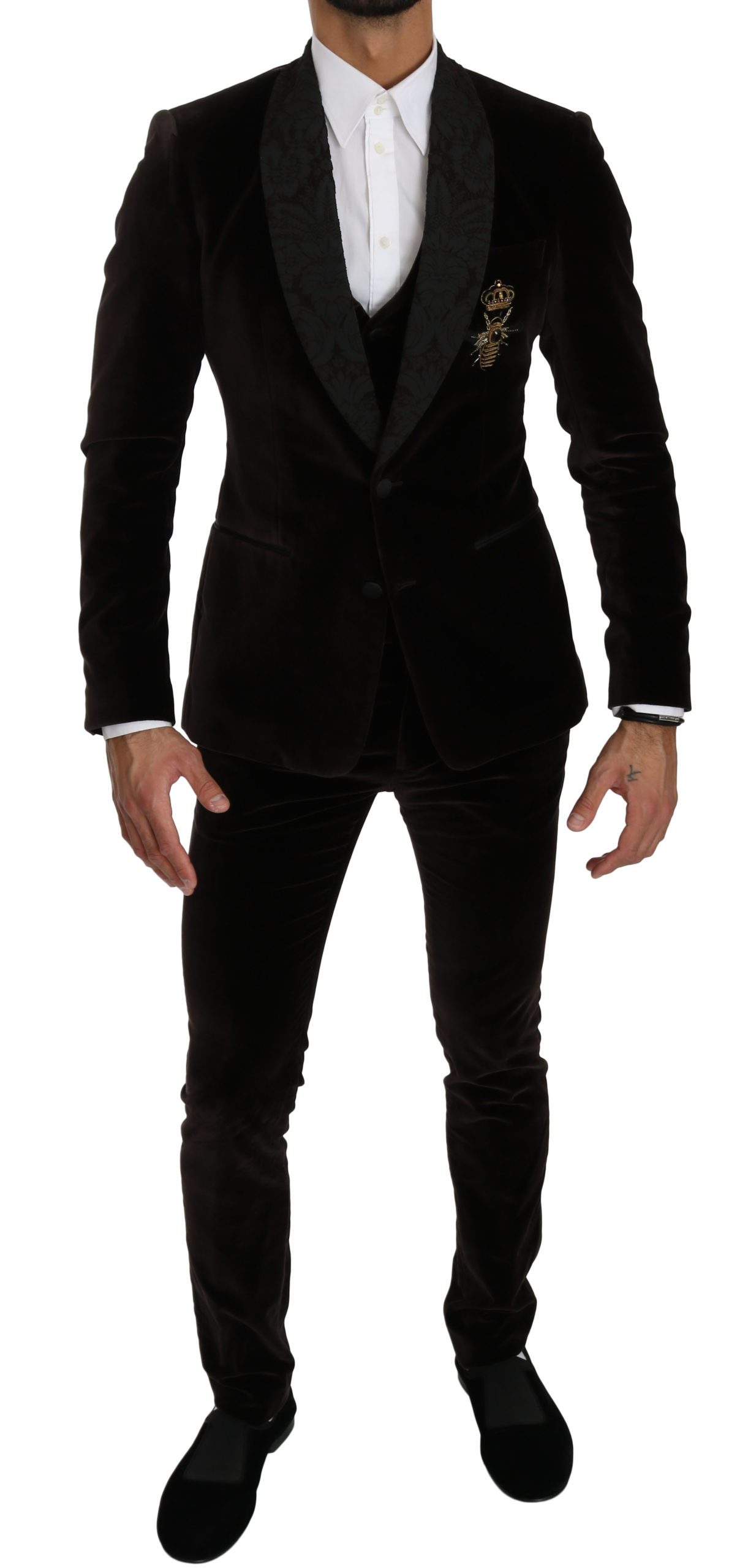 Dolce & Gabbana Men's Slim Fit Crown Bee 3 Piece Cotton Suit Brown KOS1544 - IT44   XS