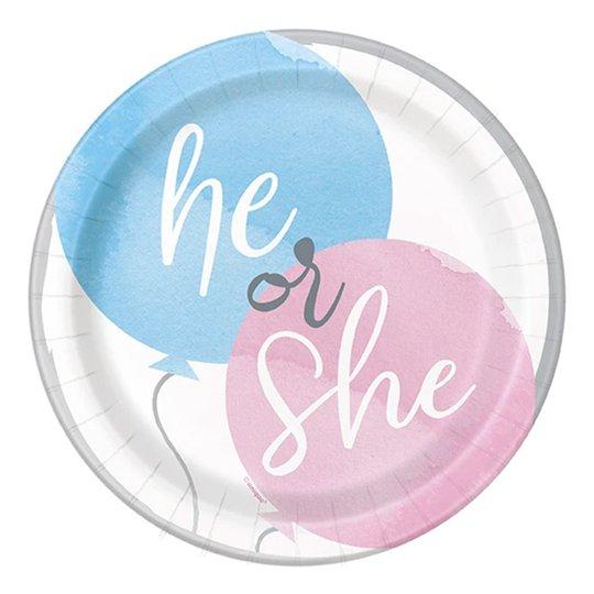 Pappersassietter Gender Reveal He & She - 8-pack