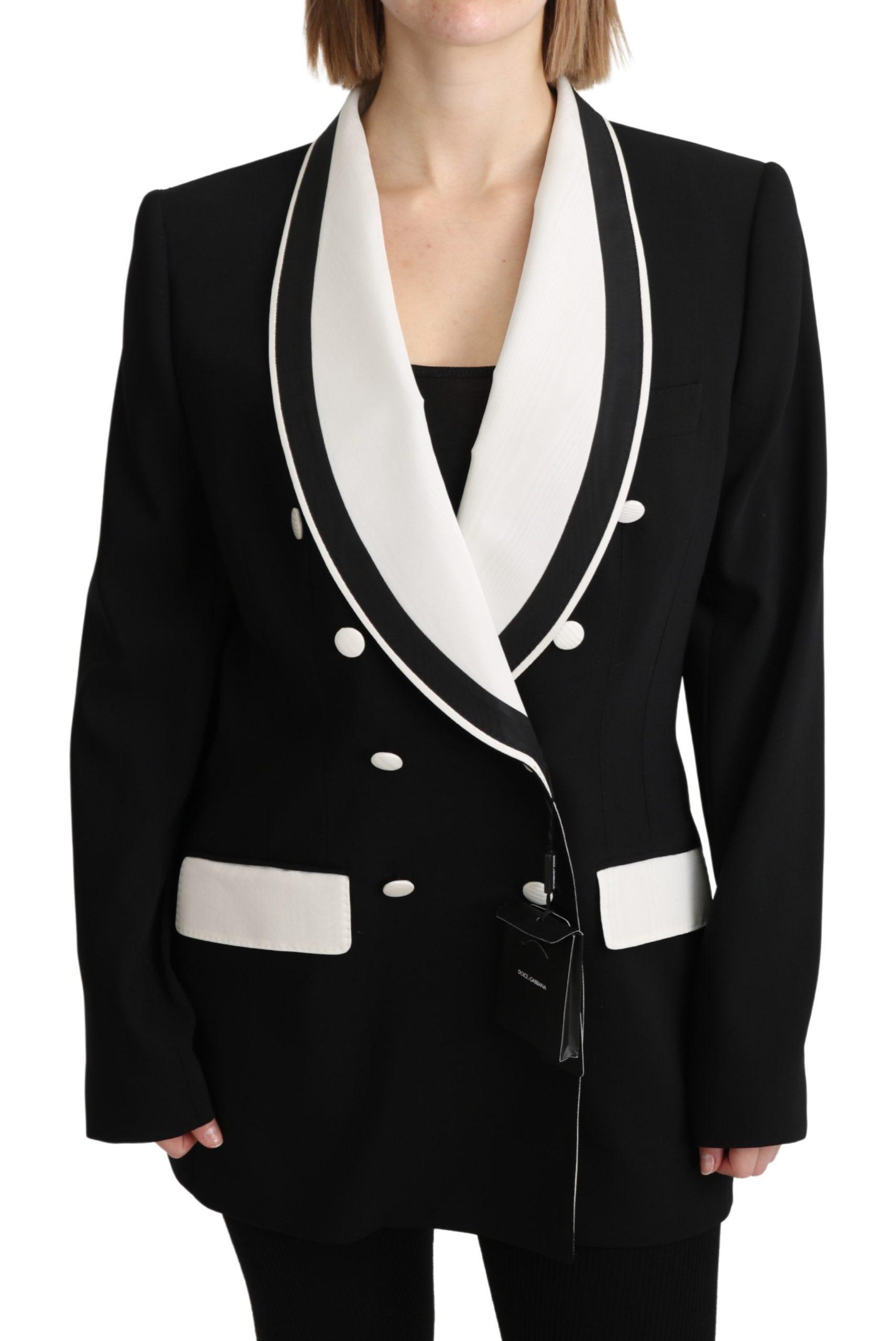 Dolce & Gabbana Women's Double Breasted Blazer Wool Jacket Black KOS1796 - IT48 XXL