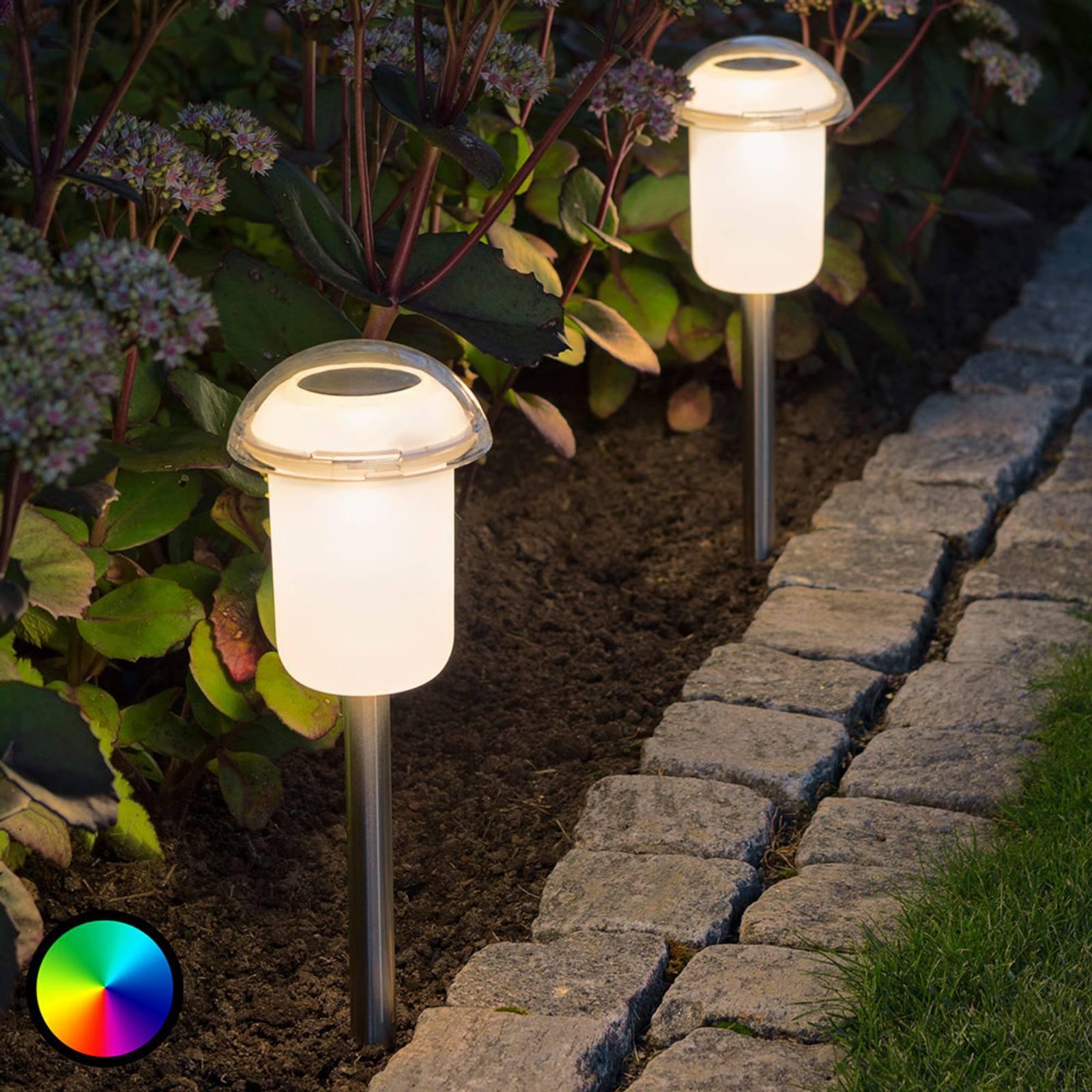 Avtagbar LED solcellelampe Assisi med fargeveksel