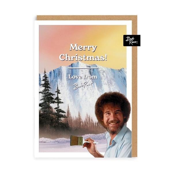 Merry Christmas Snowy Mountain Christmas Card