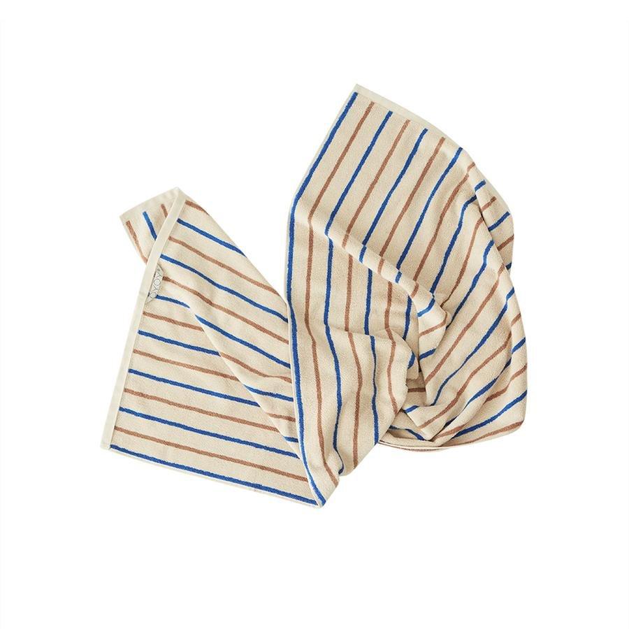 OYOY Living - Raita Organic Towel - 50x100 cm - Caramel / Optic Blue