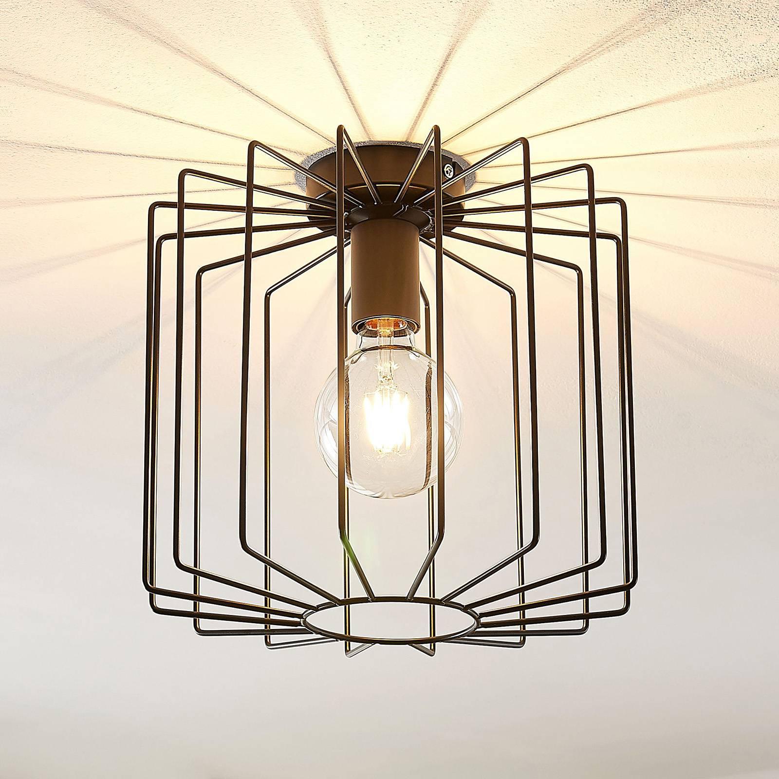 Lindby Agosto taklampe, metallbur, svart
