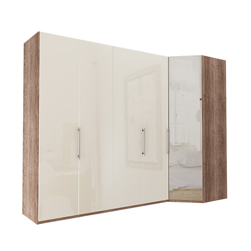 Garderobe Atlanta - Mørk rustikk eik 200 cm, 216 cm, Hjørne