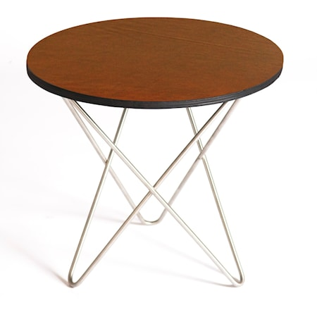 Mini o-table leather sidobord – Cognac/stainless